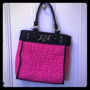 Large pink betsey Johnson quilted tote